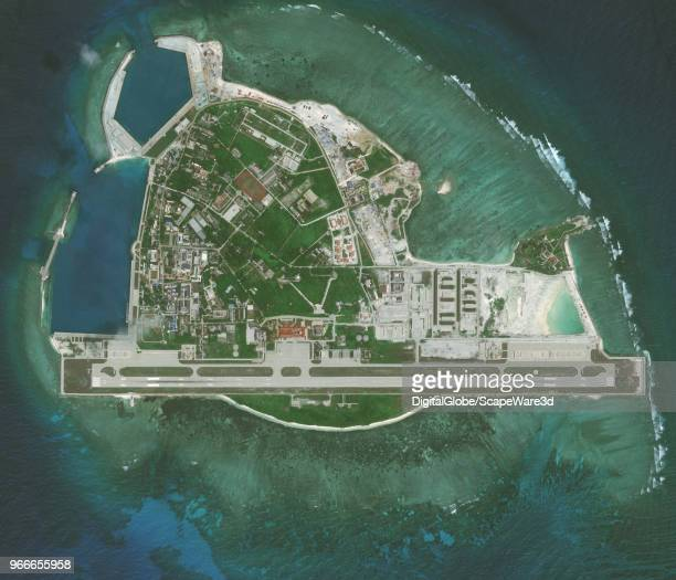 DigitalGlobe via Getty Images imagery from 26 April 2016 of Woody Island in the South China Sea. The Island has been under the control of the...