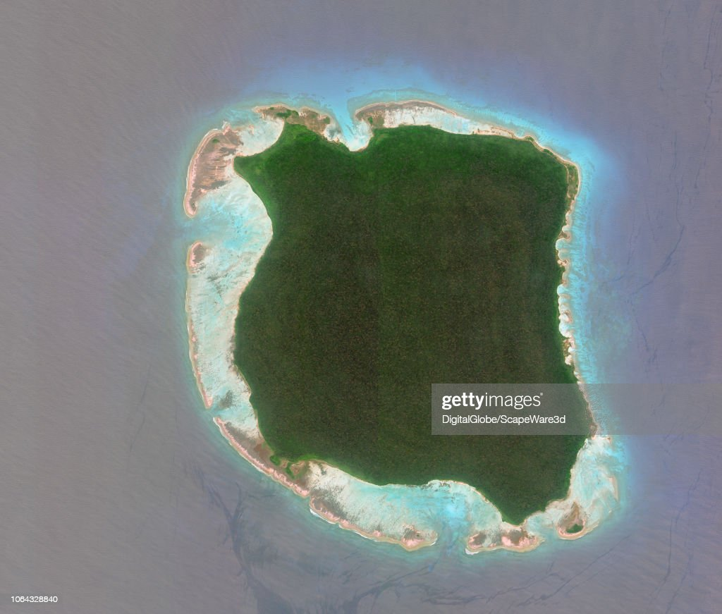 NORTH SENTINAL ISLAND, INDIA - MARCH 5, 2018: DigitalGlobe Imagery of North Sentinel Island, India. : News Photo
