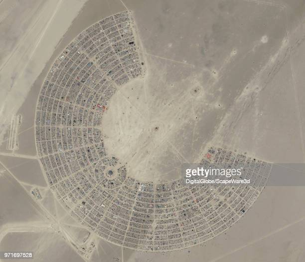 DigitalGlobe via Getty Images Imagery of the 2017 Burning Man Festival in Northwest Nevada