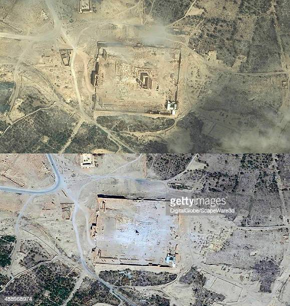 DigitalGlobe imagery of the Baalshamin temple in Palmyra Syria collected on June 2nd 2015 on September 2nd 2015 it was destroyed by ISIS An oasis in...