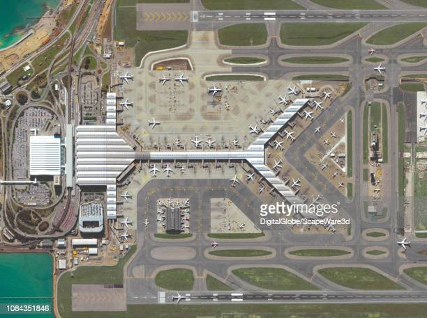 DigitalGlobe via Getty Images imagery of the Hong Kong International Airport in Hong Kong Photo DigitalGlobe via Getty Images via Getty Images