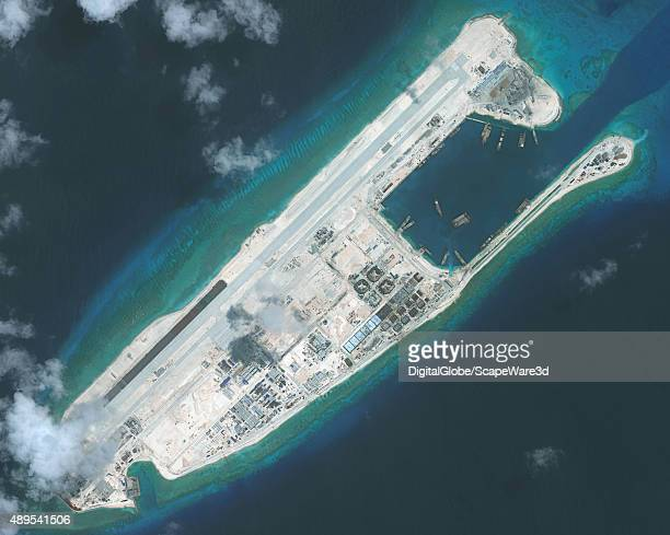 DigitalGlobe imagery of the nearly completed construction within the Fiery Cross Reef located in the South China Sea Fiery Cross is located in the...