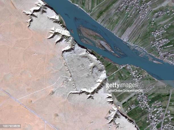 DigitalGlobe via Getty Images imagery of the ruins of Dura-Europos -- a Hellenistic, Parthian and Roman border city built on the bank of the...