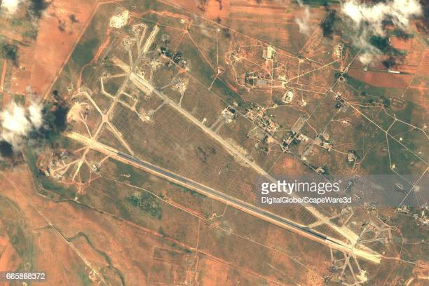 DigitalGlobe imagery of the Shayrat Air Base outside of Homs Syria following the US air strike