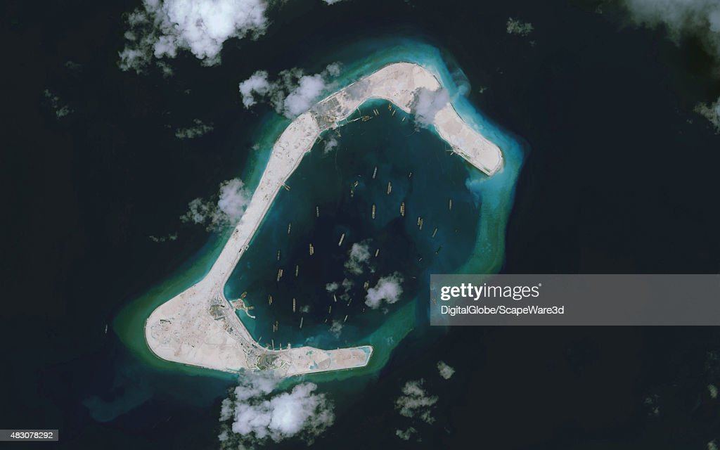 DigitalGlobe imagery of the Subi Reef in the South China Sea, a part of the Spratly Islands group.  Imagery from August 1st, 2015.  Image progression #3 of 3.  Photo DigitalGlobe via Getty Images. : News Photo