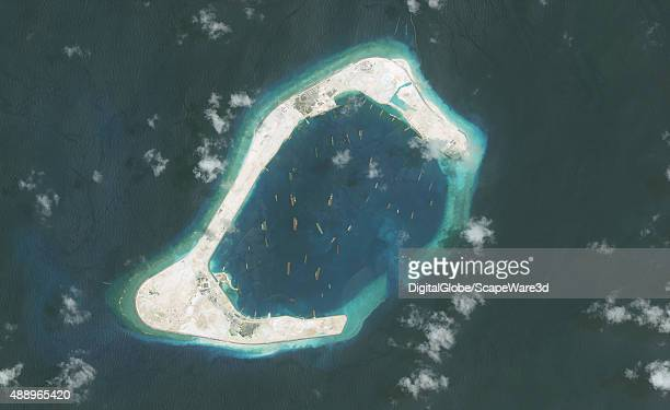 DigitalGlobe imagery of the Subi Reef in the South China Sea a part of the Spratly Islands group Image progression Photo DigitalGlobe via Getty Images