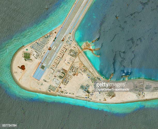 DigitalGlobe imagery of the Subi Reef in the South China Sea a part of the Spratly Islands group Photo DigitalGlobe via Getty Images