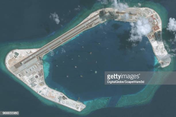DigitalGlobe via Getty Images imagery of the Subi Reef in the South China Sea, a part of the Spratly Islands group. Photo DigitalGlobe via Getty...