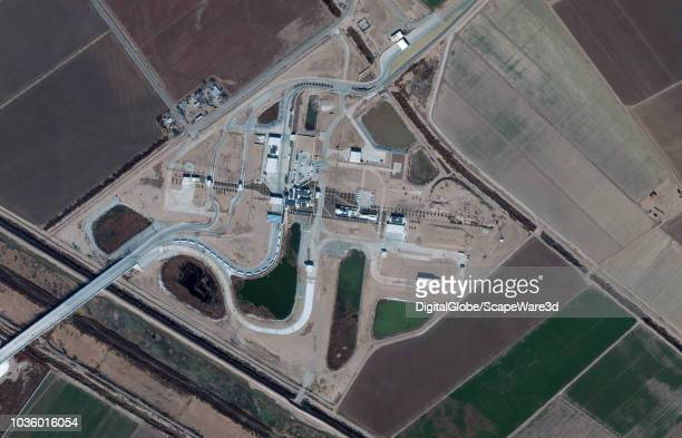 DigitalGlobe via Getty Images Imagery of the US Customs and Border Protection Tornillo Port of Entry in Texas