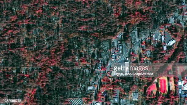 FIRE PARADISE CALIFORNIA NOVEMBER 25 2018 DigitalGlobe via Getty Images infrared after satellite imagery around Skyway Road Paradise California