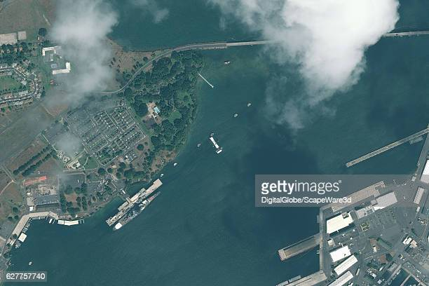 DigitalGlobe via Getty Images overview image of Pearl Harbor and the historic USS Arizona Memorial