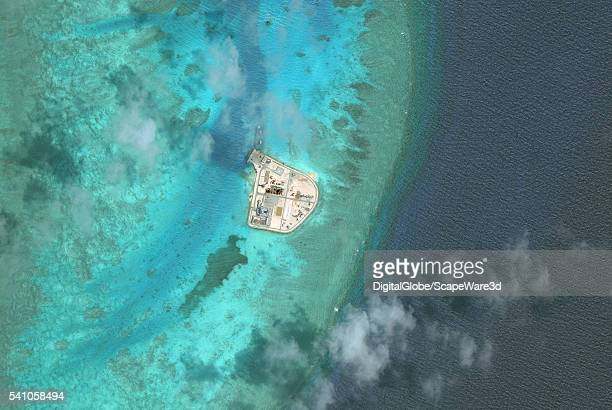 DigitalGlobe overview imagery of Johnson South Reef It is also known as Chigua Reef Yongshu Reef Gc Ma Reef and Mabini Reef and is located in the...