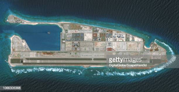 DigitalGlobe via Getty Images overview imagery of the Fiery Cross Reef located in the South China Sea. Fiery Cross is located in the western part of...