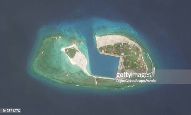 DigitalGlobe via Getty Images overview imagery of this unnamed island in the South China Sea within the Paracel Islands. Photo DigitalGlobe via Getty...