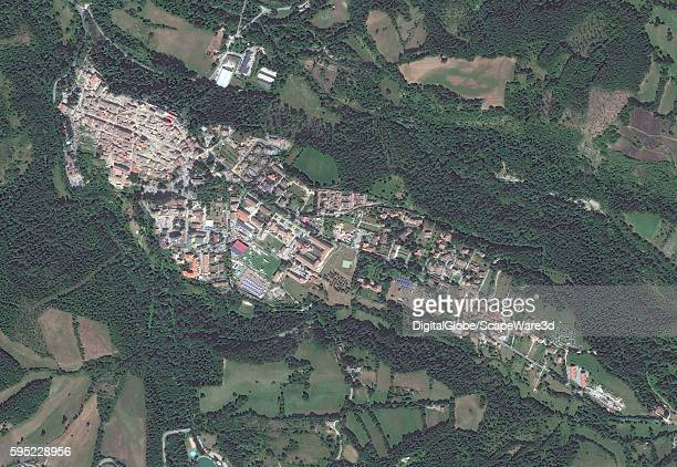 DigitalGlobe via Getty Images overview satellite image of the village of Amatrice...AFTER the earthquake hit on August 24th, 2016.