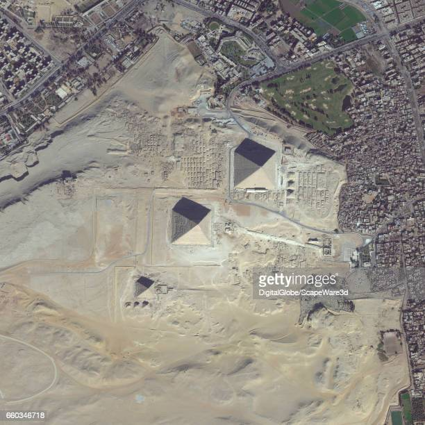 DigitalGlobe overview satellite imagery of the Giza Pyramid Complex on the outskirts of Cairo Egypt Photo DigitalGlobe via Getty Images