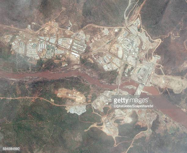 DigitalGlobe overview satellite imagery of the The Grand Ethiopian Renaissance Dam currently under construction Photo DigitalGlobe via Getty Images