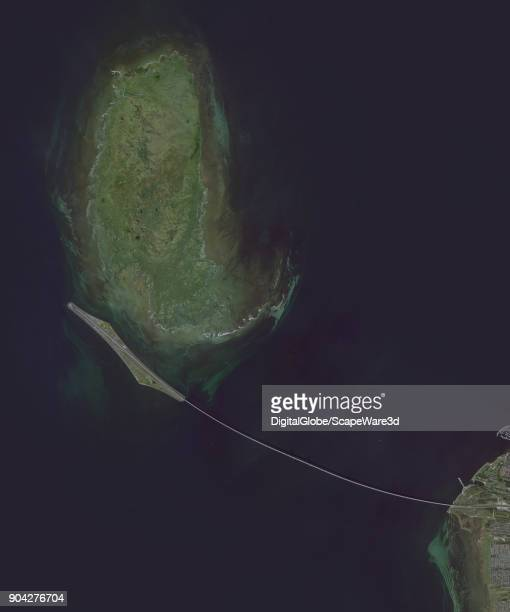 BRIDGE COPENHAGEN DENMARK MAY 6 2016 DigitalGlobe via Getty Images satellite image of Oresund Bridge Copenhagen