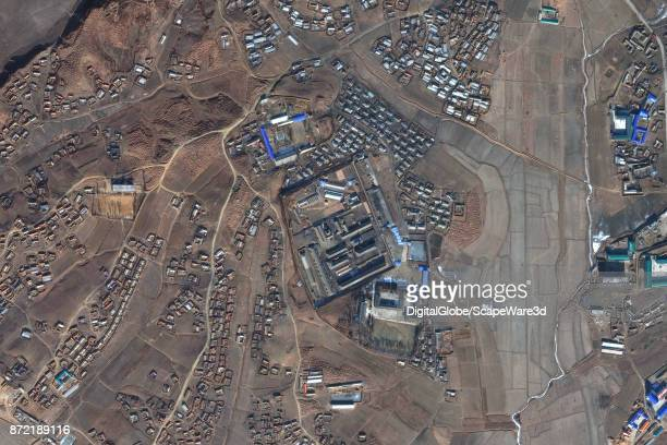 KOREA OCTOBER 29 2016 DigitalGlobe via Getty Images satellite imagery of Sinuiju concentration camp a reeducation camp in North Korea