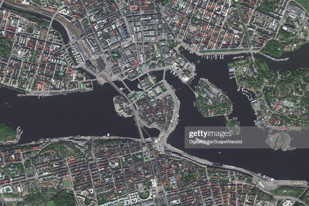 DigitalGlobe satellite imagery of Stockholm, Sweden. Photo DigitalGlobe via Getty Images.