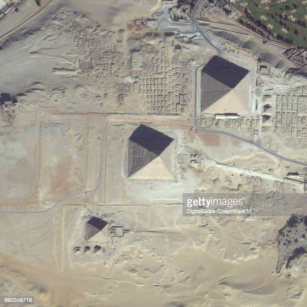 DigitalGlobe via Getty Images satellite imagery of the Giza Pyramid Complex on the outskirts of Cairo Egypt Photo DigitalGlobe via Getty Images via...