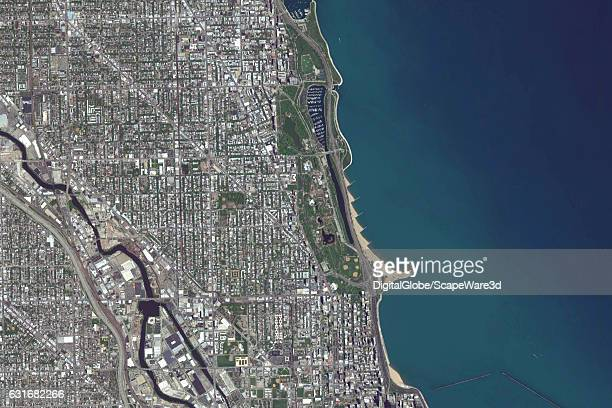 ZOO CHICAGO ILLINOIS USA MAY 5 2016 DigitalGlobe satellite imagery of the Lincoln Park Zoo in Chicago Illinois USA
