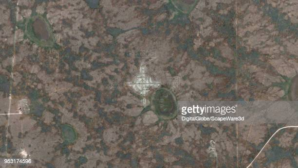 DigitalGlobe via Getty Images satellite imagery strip of a mysterious swastika symbol near Roswell New Mexico