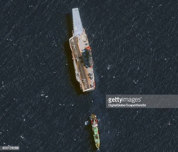 DigitalGlobe's Satellite imagery of Russia's aircraft carrier Admiral Kuznetsov in the Alboran Sea just off the coast of Morocco west of the Straight...