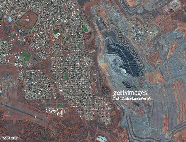 MINE BOULDER AUSTRALIA OCTOBER 2 2017 DigitalGlobe's Satellite imagery of the open pit mine in the pilbara region of Australia adjacent to the town...