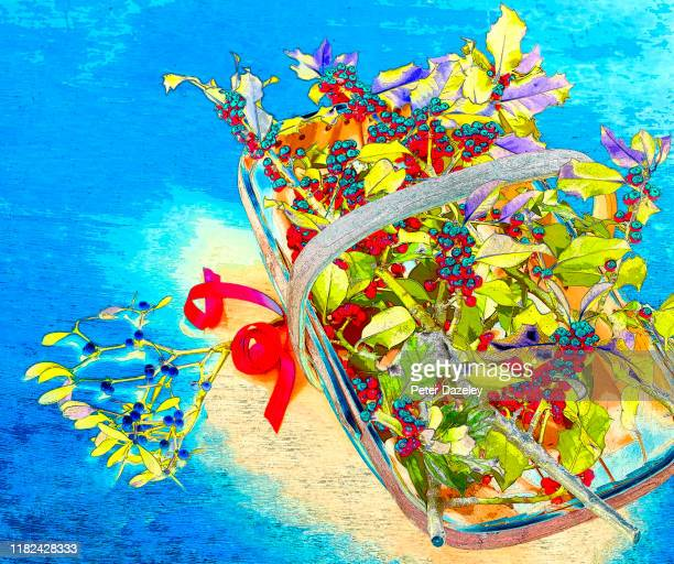 digitally enhanced basket of mistletoe and holly - {{ contactusnotification.cta }} stock pictures, royalty-free photos & images
