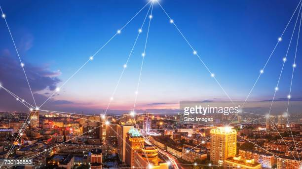 Digitally generated grid connecting points of illuminated buildings, Jilin, Jilin, China