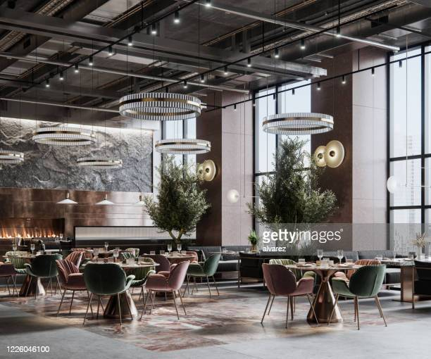 digitally generated image of a large restaurant interior - luxury hotel stock pictures, royalty-free photos & images