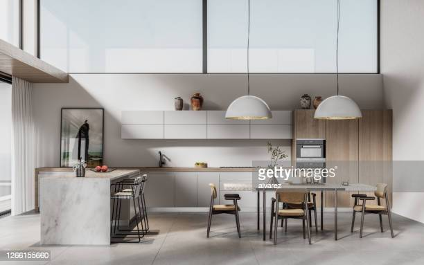 digitally generated image of a modern kitchen with dining table - moderno foto e immagini stock