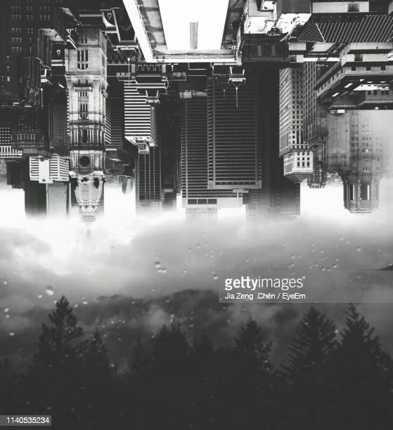 digitally generated image of cityscape and trees - digital composite stock pictures, royalty-free photos & images