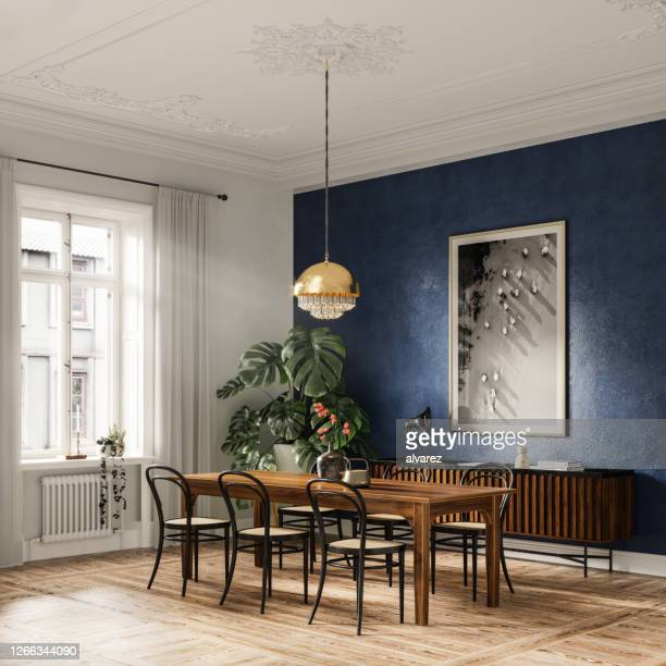 digitally generated image of dining area in a modern home - dining room stock pictures, royalty-free photos & images