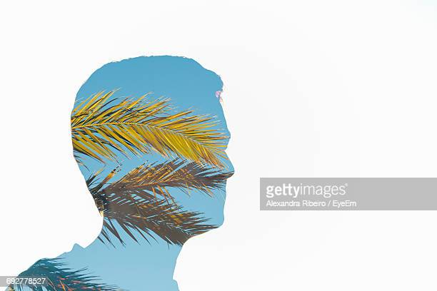 Digitally Generated Image Of Man And Sky Against White Background
