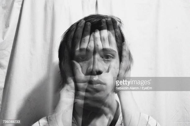 digitally generated image of man with hands on face - see no evil hear no evil speak no evil stock pictures, royalty-free photos & images