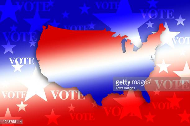 digitally generated image of shape of usa map and vote sign - election stock pictures, royalty-free photos & images