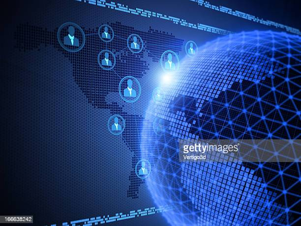 Digitally generated network globe and people