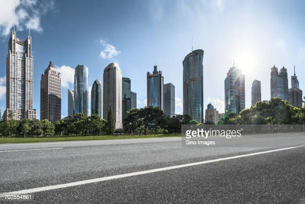 Digitally generated skyscrapers from distance