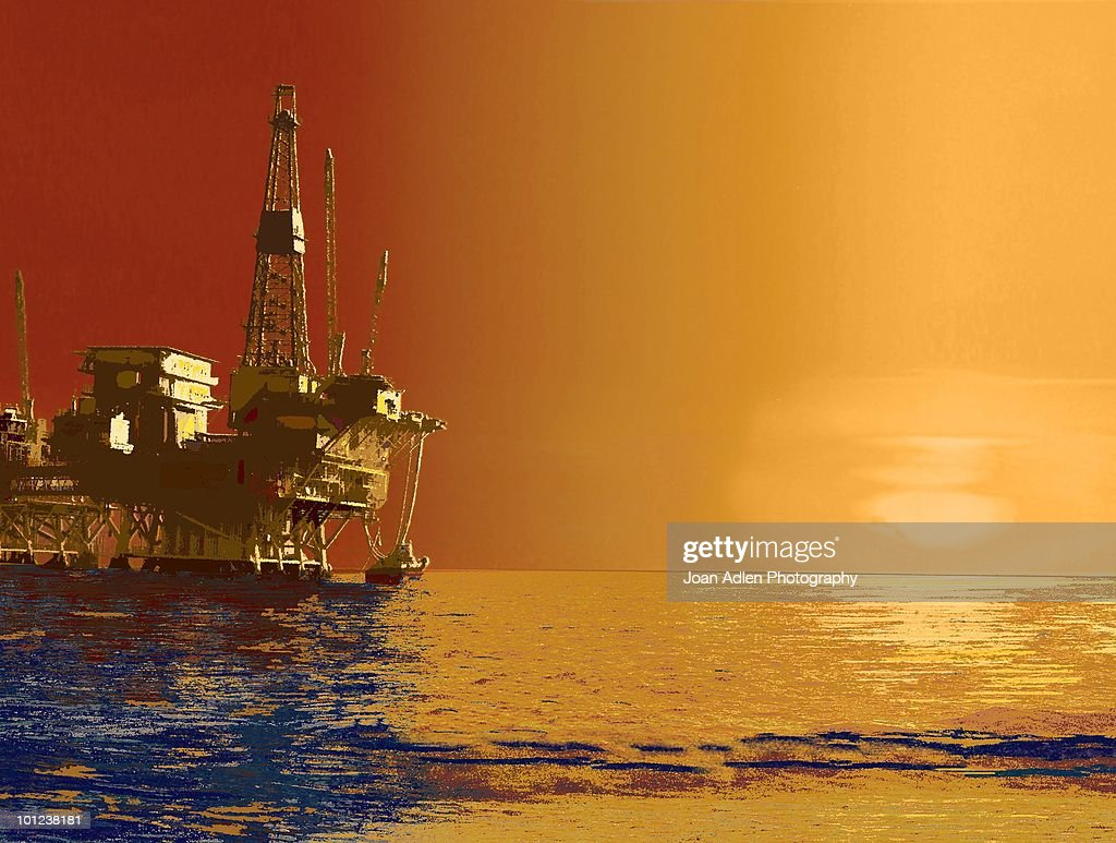 Digitally manipulated image of an offshore oil rig on March 7, 2007 in Huntington Beach, California.