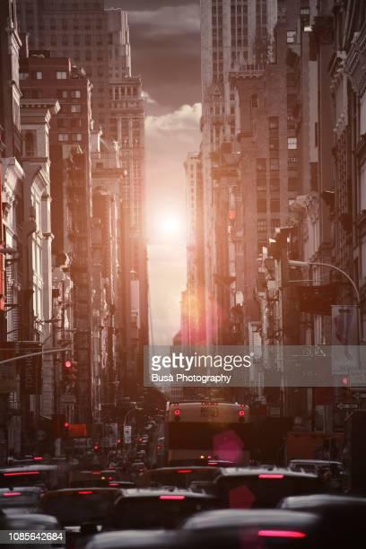 Digitally manipulated image of heavy car traffic on Broadway, Lower Manhattan, New York City