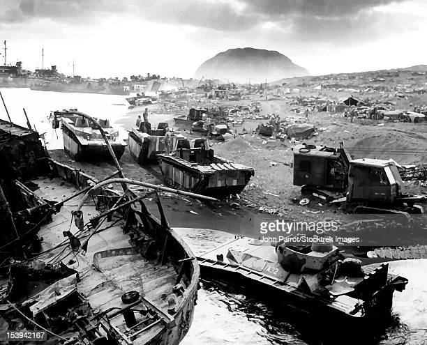 Digitally restored vector photo of the wreckage during The Battle of Iwo Jima.