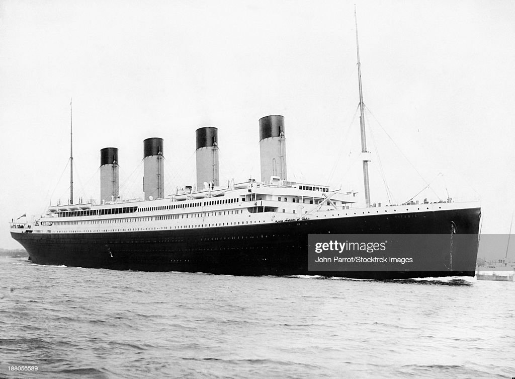 Digitally restored vintage maritime history photo of the RMS Titantic departing Southampton on April 10, 1912. : Stock Photo