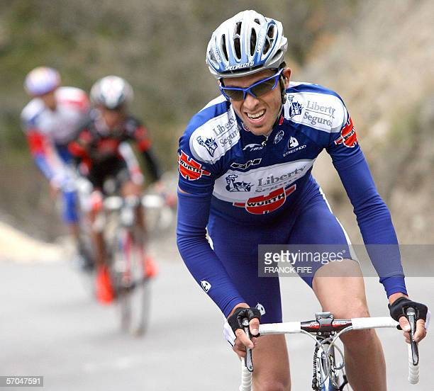Spain's Alberto Contador rides ahead of Spain's Joaquim Rodriguez and French David Moncoutie during the fifth stage of the ParisNice cycling race...
