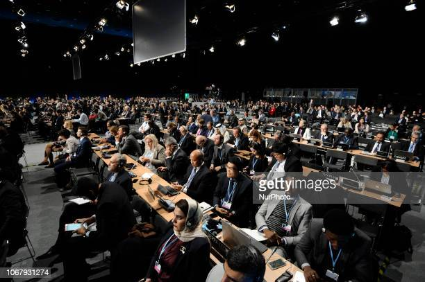 Dignitaries and guests are seen gathered for the opening of the Climate Change Conference COP24 in Katowice Poland on December 3 2018 The Katowice...