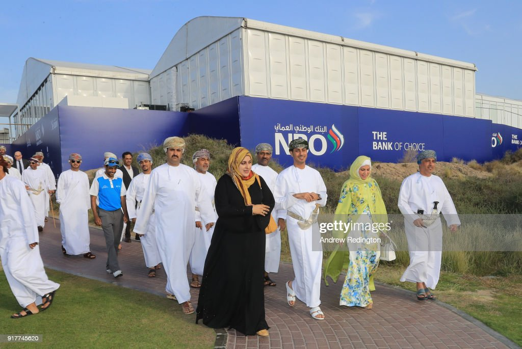 Dignitaries and key sponsors including His Excellency Sheikh Saad Al Saadi, Oman's Minister of Sport, take a tour during the Opening Ceremony for the inaugural NBO Oman Golf Classic at Al Mouj Golf on February 13, 2018 in Muscat, Oman.