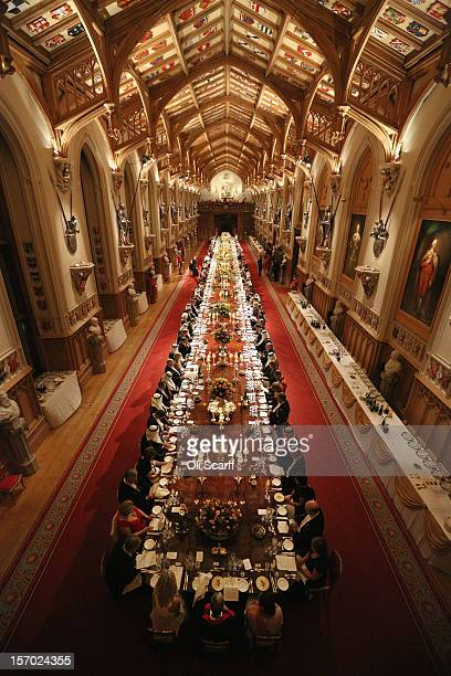 Dignitaries attend a State Banquet for His Highness the Amir Sheikh Sabah AlAhmad AlJaber AlSabah of Kuwait in Windsor Castle on November 27 2012 in...