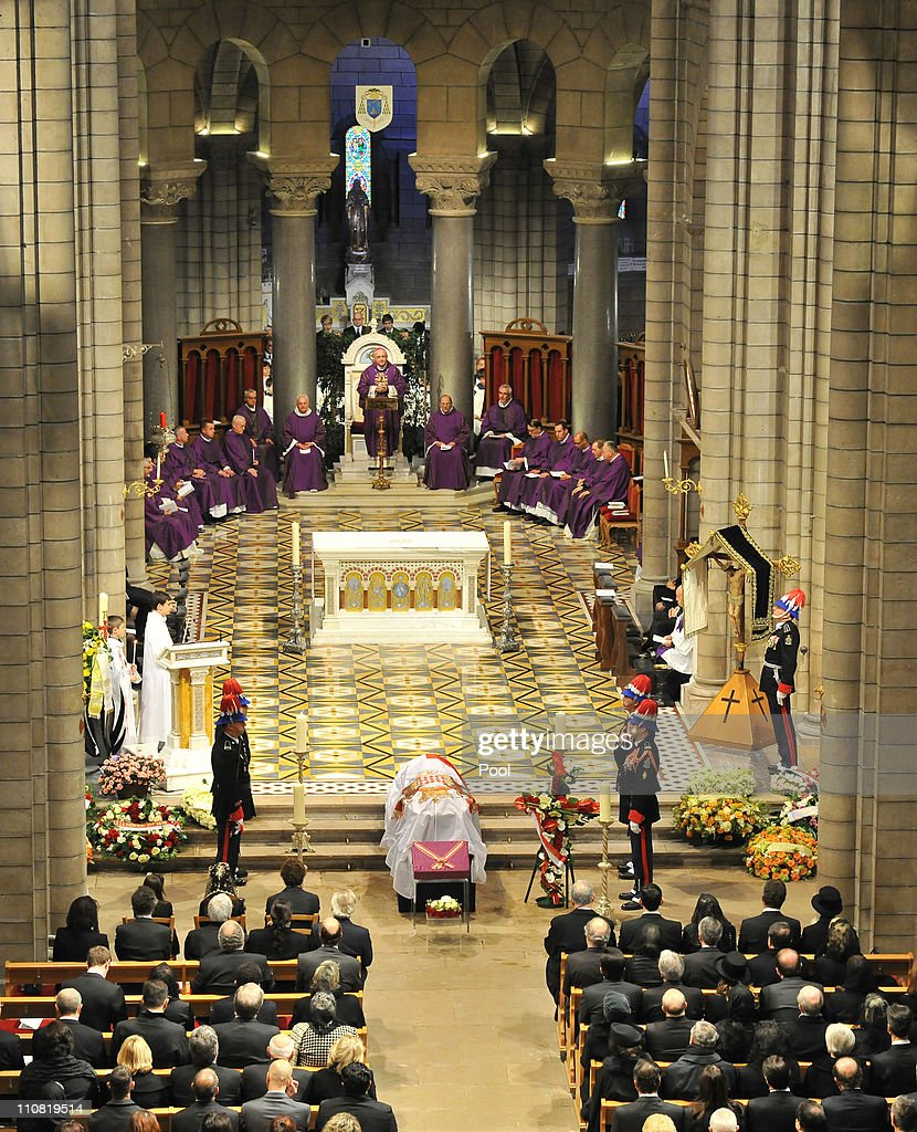 Dignitaries attend the funeral of Princess Melanie-Antoinette at Cathedrale Notre-Dame-Immaculee de Monaco on March 24, 2011 in Monaco, Monaco.