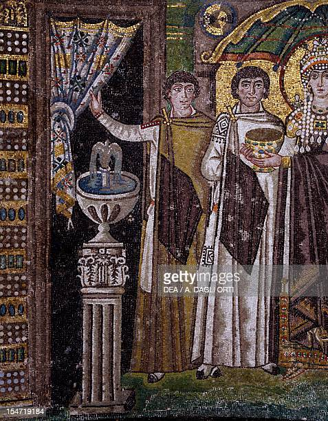 Dignitaries detail from Theodora and her entourage mosaic south wall of the apse Basilica of San Vitale Ravenna EmiliaRomagna Italy 6th century